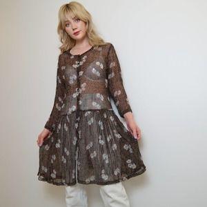 Vintage 90s sheer brown floral dress